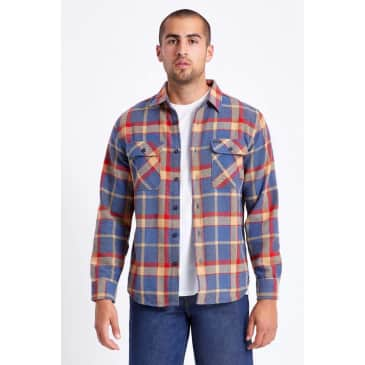 Brixton Bowery Long Sleeve Flannel - Blue Red