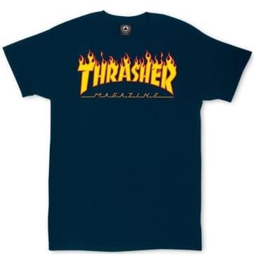 Thrasher Flame Logo T-Shirt - Navy