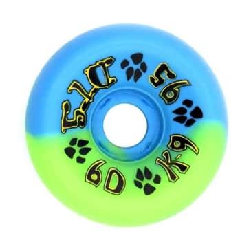 Dogtown Skateboards K-9 80's Wheels 60mm x 95a - Neon Blue Green Swirl