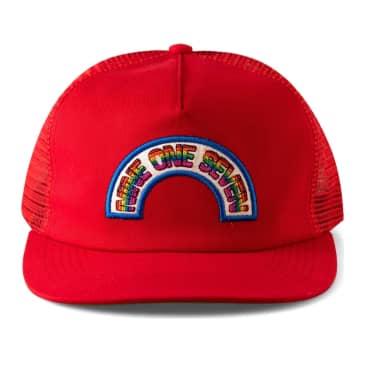 Call Me 917 Rainbow Trucker Hat - Red