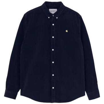Carhartt WIP Long Sleeve Madison Cord Shirt - Dark Navy / Limoncello