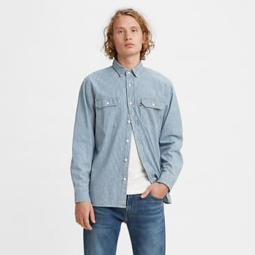 Levi's Classic Worker Shirt Hickory Stripe Rinse