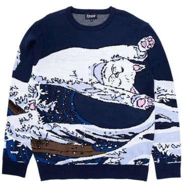 Ripndip Great Wave Knitted Sweater - Navy