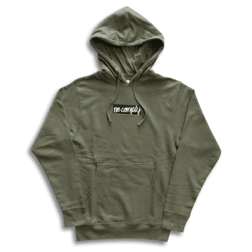 No-Comply Embroidered Script Box Pull Over Hoodie - Olive