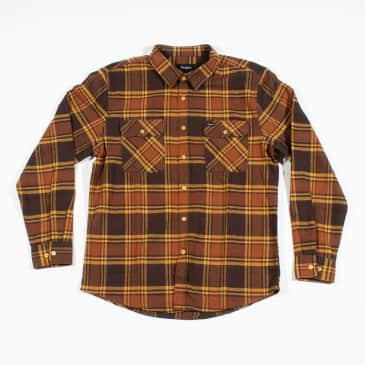 Brixton Bowery L/S Flannel Shirt - Brown / Gold