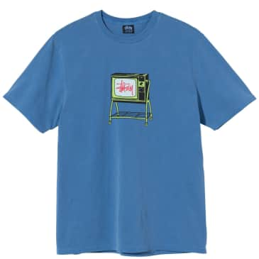 Stüssy Rolling TV Pigment Dyed T-Shirt - Blue