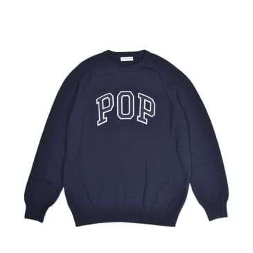 Pop Trading Company Arch Knitted Crew - Navy
