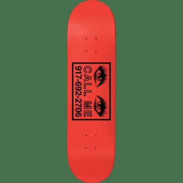 "Call Me 917 Eyes Skateboard Deck Red - 8.5"""