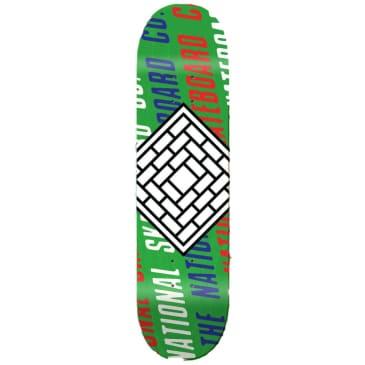 "The National Skateboard Co. - Logo Slant White (Lucky Dip Stain) - Medium Concave - Skateboard Deck - 7.75"""