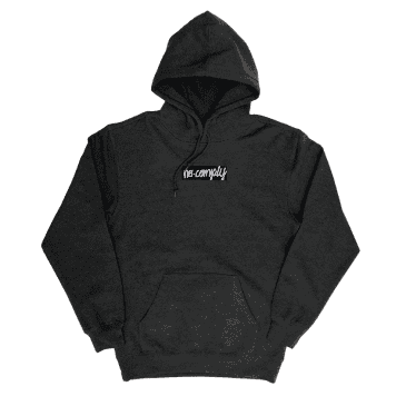 No-Comply Embroidered Script Box Pull Over Hoodie - Gunmetal Grey
