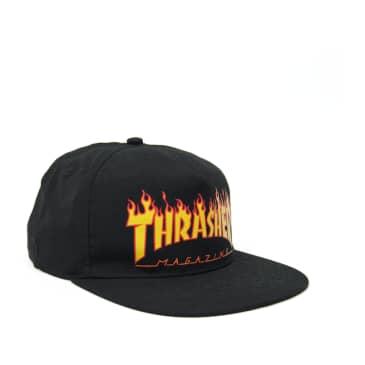 Thrasher Flame Logo Snapback Cap - Black