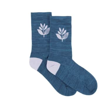 Magenta Plant Socks - Teal
