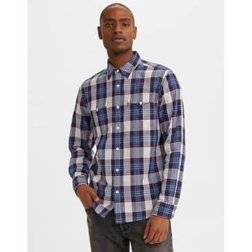 Levi's Classic Clean Western Standard Long Sleeve Work Flannel Shirt Bruce Navy Peony