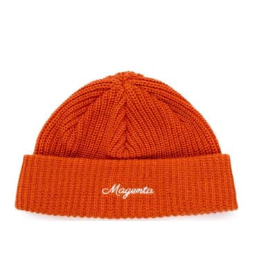 Magenta Cursive Low Beanie - Orange