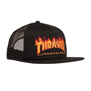 Embroidered Flame Logo Mesh Cap