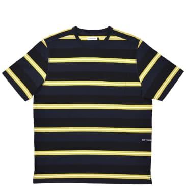 Pop Trading Company Striped Pocket T-Shirt - Navy / Yellow