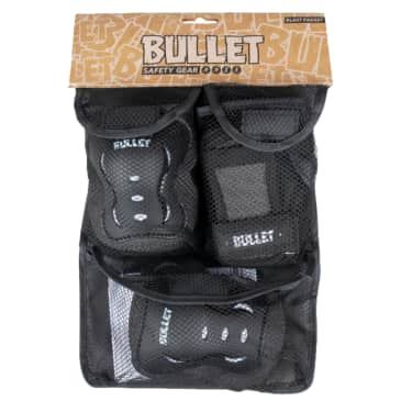 Bullet - Triple Pad Set - Black / White - Junior 7-9 Years Extra Small