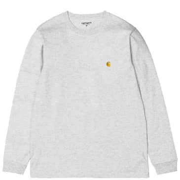 Carhartt WIP Chase Long Sleeve T-Shirt - Ash Heather / Gold