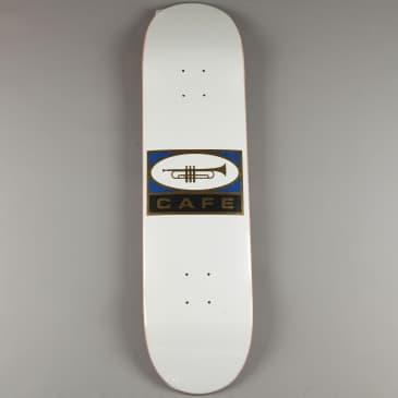 "Skateboard Cafe 'Trumpet Logo' 8.5"" Deck (White / Silver)"
