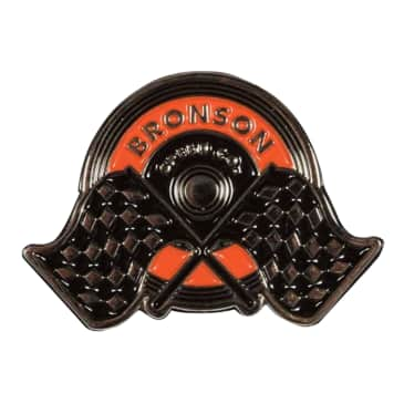 Bronson Speed Co Winners Circle Screw Back Label Pin Orange/Black