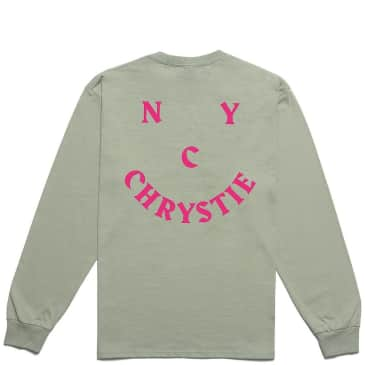 Chrystie NYC Smile Logo Long Sleeve T-Shirt - Weed Green