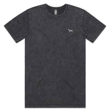 Black Sheep Embroidered Icon Tee Faded Black Stone Wash