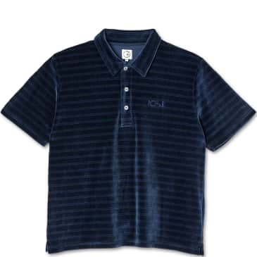 Polar Skate Co Stripe Velour Polo Shirt - Navy
