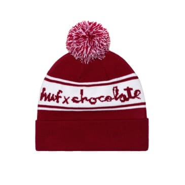 HUF X CHOCOLATE POM BEANIE - RED WHITE