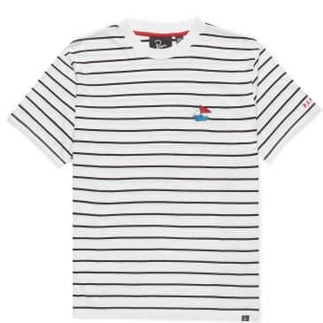 by Parra Paper Boat Striper T-Shirt - White