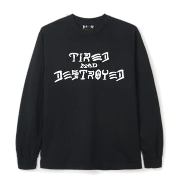 Tired x Thrasher Destroyed Long Sleeve T-Shirt - Black