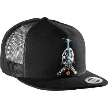 POWELL PERALTA TRUCKER SKULL AND SWORD HAT BLACK