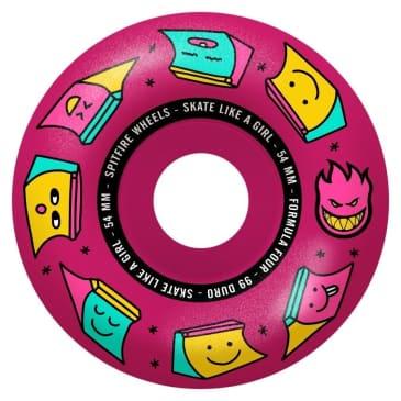 SPITFIRE 54mm Skate Like a Girl Formula Four Wheels Pink