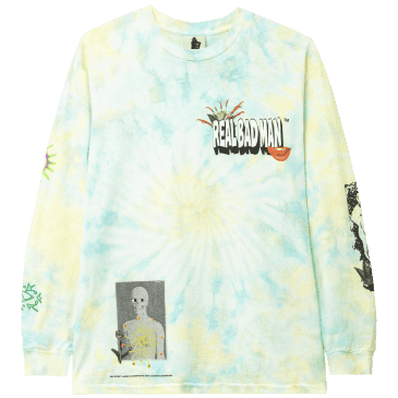 Real Bad Man From Outer Space Tie Dye Long Sleeve T-Shirt - Aqua Yellow