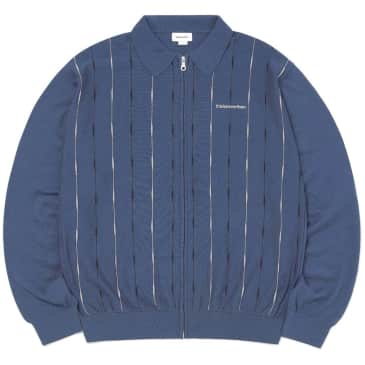 thisisneverthat -T-Logo Zip Up Polo - Blue