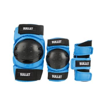 Bullet Triple Standard Combo Skateboard Junior Padset - Blue/Black