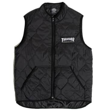 Thrasher Magazine Logo Quilted Vest - Black