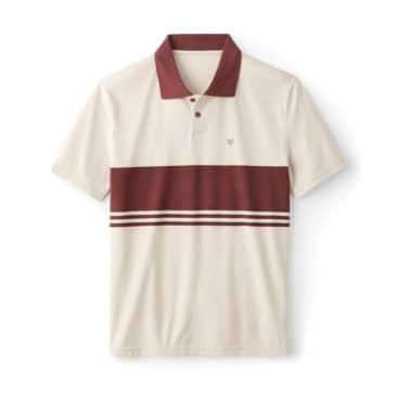 Brixton Shield Stripe Crossover Knit Polo - Beige/Wine