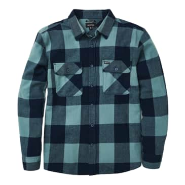 BRIXTON BOWERY LW L/S FLANNEL - WASHED NAVY/OCEAN