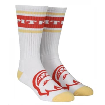 Spitfire OG Classic Crew Socks Heather White Red Yellow