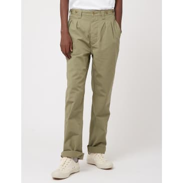 Nigel Cabourn Pleated Chino (Ripstop) - Army Green