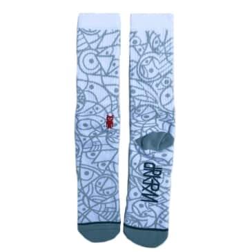 Darkroom Collective Woven Sock - White / Grey
