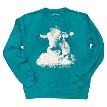 Decimal - 'THE COW' Sweatshirt - Jade/White