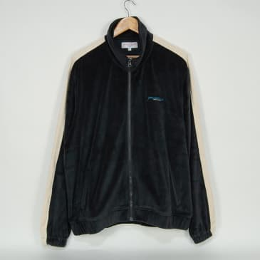 Yardsale - Surge Velour Track Top - Charcoal / Beige
