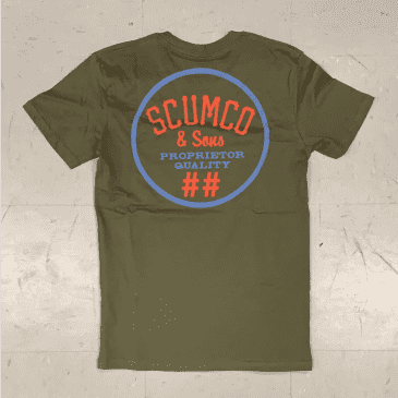 Scumco and Sons Skateboards Logo T-Shirt Olive Green