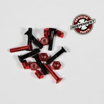 """INDEPENDENT 1"""" Cross Bolts Hardware Black/Red"""