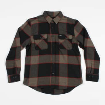 Brixton Bowery L/S Flannel Shirt - Grey / Charcoal