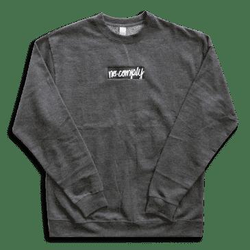 No-Comply Embroidere Script Box Crewneck Sweater - Gunmetal Grey