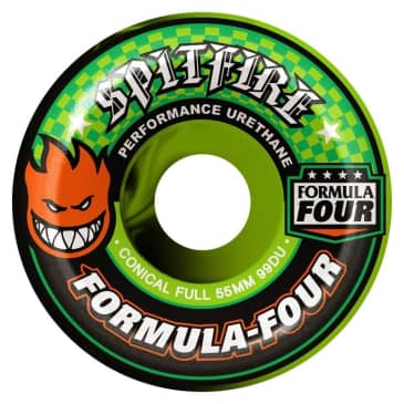 Spitfire Formula 4 Conical Full Swirl Wheels (Green/Black) - (53mm)