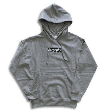 No-Comply Embroidered Script Box Pull Over Hoodie - Heather Grey