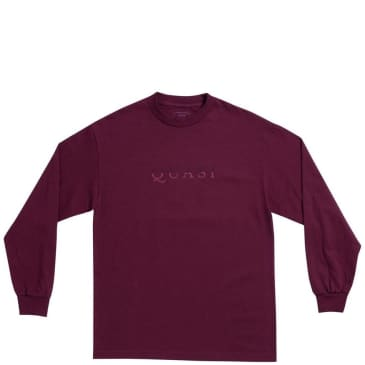 Quasi Wordmark Long Sleeve T-Shirt - Burgundy